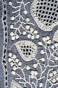 The Chikankari Chikan embroidery from Lucknow during the reign of Wajad Ali the last ruler of the state. White thread embroidery upon white cotton cloth. variety of stitches to create different lace-like or monochromatic effects, areas that are opaque or transparent emphasized with bold or delicate details or outlines depending on the design.