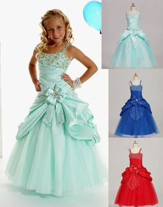 Give your little girl the  Sweet Green Taffeta Straps Beads Wedding Flower Girl Dresses Girls' Pageant Dresses Dressy Skirt Custom Size 2 4 6 8 10 12 DF621001 in dressit2050 as a good gift and have her shine like a bright star with little rosie pageant dresses,cute girl dressesand infant pageant dresses for sale.