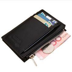 f5fe6df7a4 Genuine Leather Purse Mini men s wallet Card slots Coffee short Clutch  wallet - US  8.23