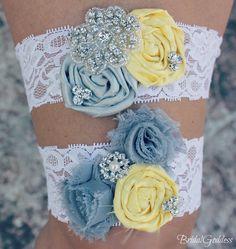 Wedding Garter Set - Toss Garter - Bridal Garter -Wedding - Bridal Accessories - Yellow Gray Garter-Yellow Gary Wedding. $20.00, via Etsy.
