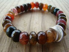 Rainbow Agate Gemstone Stretch Bracelet by BeJeweledByCandi, $26.00