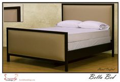 Bella Uphostered Nail Panel Headboard with Espresso Bed Frame, King Bed, linen. $785.00, via Etsy.