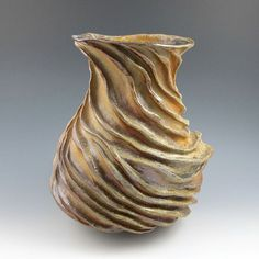 Wood Fired Wavy Carved Sculptural Ceramic Pottery by jtceramics,