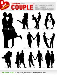 Couple Silhouettes — Photoshop PSD #black #walking • Available here → https://graphicriver.net/item/couple-silhouettes/1217425?ref=pxcr