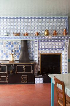 Claude Monet's kitchen at his home in Giverny, France.  Lovely blue and white tiles that I had the opportunity to see 12 years ago!
