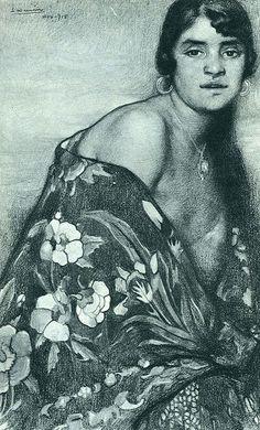 Saturnino Herran, La criolla del manton, 1915. Mexico.