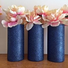 Set of 3 Beautiful Navy Glitter coated Glass Cylinder Vases. The vases in this particular listing are decorated in Navy glitter, and sealed to reduce glitter shedding. Flowers and accessories are not
