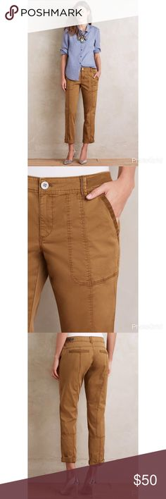 """Anthropologie Hei Hei Tavira pants Comfortable and cool, and neutral for versatility. New with tags, size 32. Waist 19"""" rise 10"""", inseam (rolled): 24.5"""". Unrolled 28 1/2"""" they do have some Doreen in them, but don't look as green in the photo IRL. I think they are closer to the stock photo color, just darker. Anthropologie Pants Ankle & Cropped"""