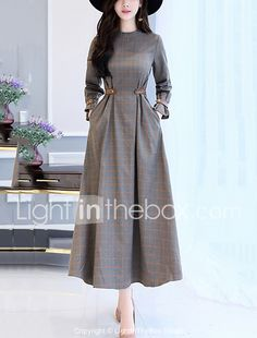 Women's Party Going out Simple Slim Swing Dress Check Patchwork Stand Maxi Long Sleeves Cotton Polyester Fall Winter High Waist 2017 - $24.99