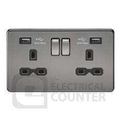 Screwless Black Nickel Black Insert 2Gang Switched Socket/2USB Charger