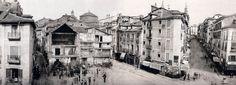 Panorámica de la Puerta del Sol, 1857. De izquierda a derecha, calle Preciados, Carmen y Montera. Las obras de remodelación de la Puerta del Sol se llevaron a cabo en los años (1857-1862) - Portal Fuenterrebollo