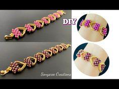 Stretch Bracelets, Cuff Bracelets, Bangles, Beading Tutorials, Beading Patterns, Beading Ideas, Bead Jewellery, Beaded Jewelry, Beaded Bracelets Tutorial