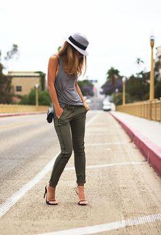 (Fedora - Maison Michel, Sunglasses - Chanel, Tank via Nordstrom Rack - T by Alexander Wang, Bag - Chanel, Cargo Pants via Nordstrom Rack - Rag Bone, Sandals - Saint Laurent)