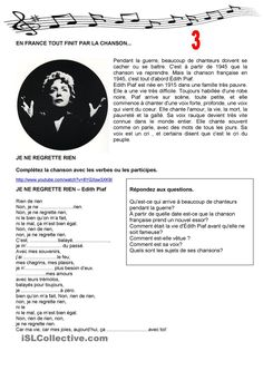 En France tout finit par des chansons 3 French Verbs, French Grammar, French Expressions, French Teacher, Teaching French, Learn To Speak French, Teaching Portfolio, French Worksheets, French Songs