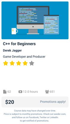 C++ for Beginners | Seeder offers perhaps the most dense collection of high quality online courses on the Internet. Over 13,800 courses, monthly discounts up to 92% off, and every course comes with a 30-day money back guarantee.