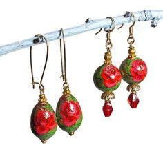 Red Rose Earrings Victorian Style Jewelry by BluKatDesign on Etsy