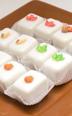 Thanksgiving Petit Four Glace  #petit fours #petit four glace #thanksgiving #food