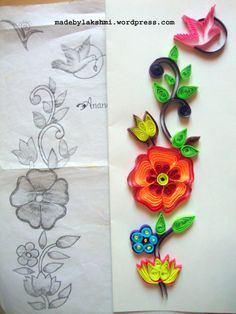 Note how embroidery pattern/drawings can be used for quilling. Love the way she's quilled the bird - very simple & Minimal rolls! Quilling Instructions, Paper Quilling Tutorial, Paper Quilling Designs, Quilling Patterns, Quilling Ideas, Quilling Supplies, Arte Quilling, Origami And Quilling, Quilling Paper Craft