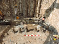 Posts 9 - 15 recorded at 3.2m below current ground level. (Scale 1m)
