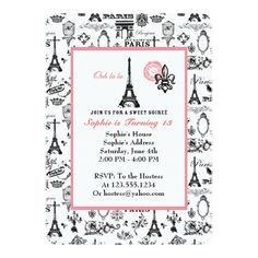 Paris Party White Invitation