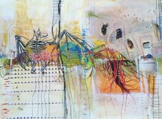 """eyes of bats"" journal spread - by bun blog - artist: Roxanne Coble"