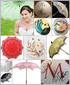 HWB Inspiration Board: Pretty, Pretty Parasols ~ Photos: Green parasol bride, Bella Umbrella~Mr. & Mrs., Cycling4ACure~Ecru lace parasol, Dragonfly Design~Peacock, Clockwork Couture~Scallopped Peacock, Oriental Decor~Red lace, Amazon~Chinese, Pink Frosting~Bumble beed, Great Lookz~White and pink, Great Lookz~Black lace, Ladies Emporium~Pink lace, Amazon~Monogram, Exclusive Elements #umbrella #wedding