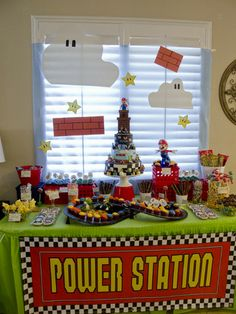 Mario Bros. - love the kart race track used for the cupcakes.