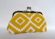 Yellow Clutch, Yellow and White Clutch, Wedding Clutch, Aztec Pattern Clutch, Bridesmaid Gifts, Bridesmaid Clutch, Bridesmaids Set by TheHeartLabel on Etsy