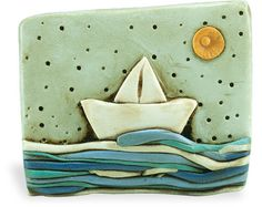 Boat on the sea art brooch - Miniature ocean scene clay brooch – surfing ocean Fimo Clay, Polymer Clay Projects, Polymer Clay Jewelry, Clay Crafts, Ceramic Pottery, Ceramic Art, Clay Tiles, Air Dry Clay, Tile Art
