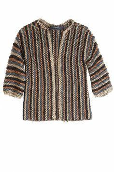 Hand knit Yarn Striped Cardi
