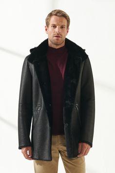 JASON Men Casual Black with Patterned Shearling Coat Black Noble   Luxury Shearling Black Shearling Coat, Mens Shearling Jacket, Leather Jacket, Black Pattern, Men Casual, Pure Products, Luxury, Model, Jackets