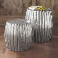 Silver Hammered Drum Accent Table Collection