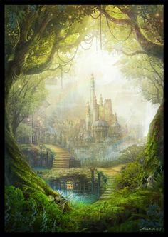 自然との調和 Harmony with nature Fantasy Magic, Fantasy City, Fantasy Castle, Fantasy Places, Fantasy World, Fantasy Art Landscapes, Fantasy Drawings, Fantasy Landscape, Landscape Art