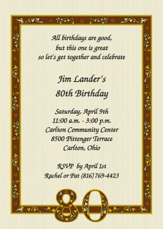 Nostalgic 80th Birthday Invitations