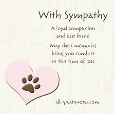 sympathy for loss of pet sympathy quotes loss of pet quotesgramwith sympathy a loyal companion and best friend may their memories bring you comfort in this loss of dogpet