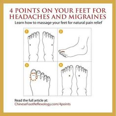 Acupuncture For Migraine 4 Points on Your Feet for Headaches and Migraines: Acupressure and Reflexology Points for Fast and Natural Pain Relief If you get headach. Reflexology Points, Reflexology Massage, Foot Massage, Kundalini Yoga, Qigong, How To Massage Yourself, Les Chakras, Migraine Relief, Downsizing Tips
