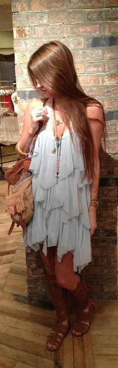 In love with the dress... wear it with your fave Larimar long necklace + stud Larimar earrings