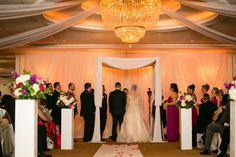 Simple white draped chuppah indoor ballroom wedding found on Modern Jewish Wedding Blog // Photographer:  Michael Novo Photography
