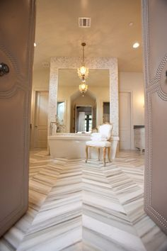 love how the orientation of the marble makes a pattern (Preciously Me blog : Marble Bathroom)