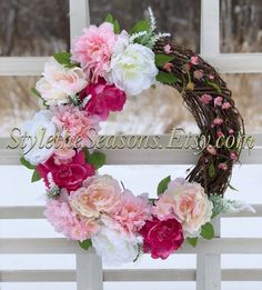 Excited to share the latest addition to my #etsy shop: Spring Wreaths for Front Door, Peony Wreath, Spring Wreath, Door Wreath, Mother's Day Wreath, Gift For Her, Baby Girl Wreath, Summer Wreaths