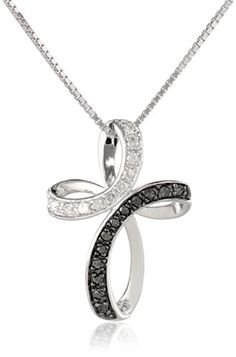 Sterling Silver Black and White Diamond (1/4 cttw) Cross Pendant Necklace, 18″by Amazon Collection - See more at: http://blackdiamondgemstone.com/jewelry/necklaces/pendants/sterling-silver-black-and-white-diamond-14-cttw-cross-pendant-necklace-18-com/#sthash.TFGgDEOf.dpuf