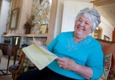 Marion Shurtleff wrote an essay 65 years ago in Kentucky for her Girl Scout troop. Last December she walked in to a bookstore in California and bought a used Bible ....wanna guess what was in it? ♥
