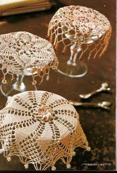 "Photo from album ""Ondori Crochet Lace on Yandex. Art Au Crochet, Crochet Cup Cozy, Crochet Doily Patterns, Crochet Home, Thread Crochet, Crochet Gifts, Crochet Doilies, Knit Crochet, Crochet Jar Covers"