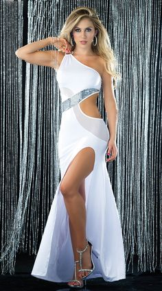 Sexy long gown with a side cut out one shoulder silhouette strappy back  sequin and mesh swirl insets and front side slit 6b3cd80fe