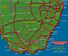 NSW Touring Map - showing location of Major Routes. Adelaide to Melbourne, Melbourne to Canberra to Sydney, Sydney to Brisbane. Country and Coastal Routes Work In Australia, Australia Hotels, Australia Travel, Road Trip Map, Road Trips, South Coast Nsw, Australian Road Trip, Aboriginal History, Viajes