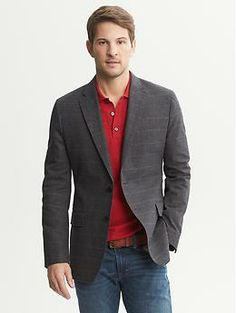 Tailored-Fit Brown Plaid Cotton Blazer from BR is clean @ $225 but on sale for $135