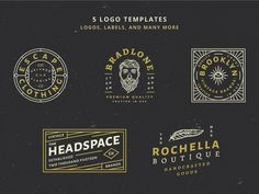 Ad: 5 Vintage Badge Logos Vol 01 Part 2 by Tacikworks on 5 Vintage Badge Logos Vol 01 Part 2 By Wilder Collective --- Make your vintage logo easy with this badge templates. Every text is editable Vintage Logo Design, Vintage Typography, Typography Design, Vintage Logos, 5 Logo, Badge Logo, Badge Template, Logo Templates, Badges