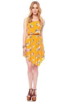 Asymmetrical dress - Mustard