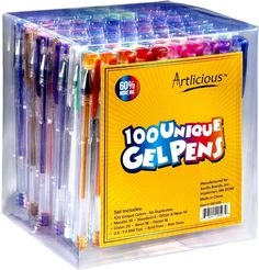 Artlicious - ULTIMATE 100 Unique Gel Pens Set - No Duplicates - 60% More Ink ...