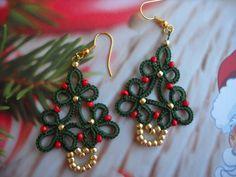 Tatting Earrings, Tatting Jewelry, Crochet Earrings, Drop Earrings, Needle Tatting, Tatting Lace, Christmas Tree Earrings, Christmas Ornaments, Tatting Patterns